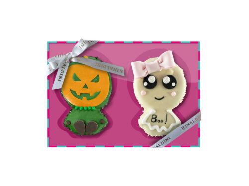 Coppia Biscotto Decorati Zucca e Fantasma Halloween 2020 Rinaldini
